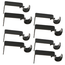 8 Pack Adjustable Metal Curtain Pole Rod Wall Bracket Hook Holder Black
