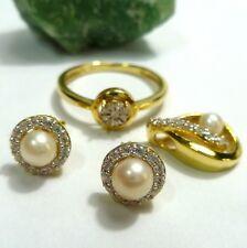 585 / 14k Oro Juego de Joyas pendientes anillo 56 (17,8 mm Ø ) Zirconia Colgante