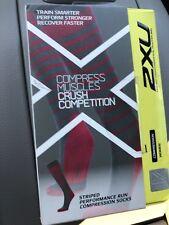 2Xu Women Striped Performance Run Compression Socks Size Large