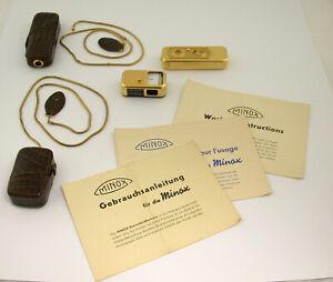 MINOX A IIIs Gold Set VINTAGE light exposure meter 8x11 original top NO dents