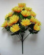 "Yellow 16-Mums 21"" Bouquet Silk Flower Home Office Kitchen Wedding Decor"