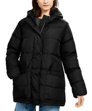 Eileen Fisher Hooded Down Puffer Jacket Coat Black Size S  ~ NWT