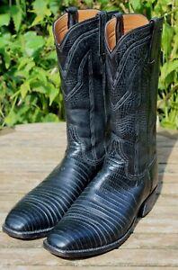 Vintage 60's LUCCHESE San Antonio Black Lizard Roper Boots US 9B Exotic Cowboy