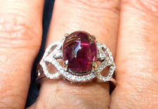 14K WG Lovely Pink PINK Tourmaline and Diamond Ring - Size 6.5,  4.42 grams.