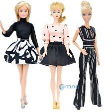 E-TING 3 Sets Casua Clothes Jumpsuits Blouse Bubble Skirt Black for Barbie Doll