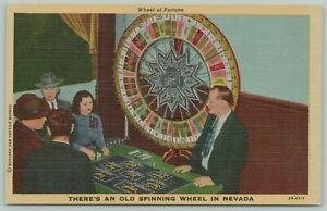 Boulder City Nevada~Wheel Of Fortune Old Spinning Wheel~1940s Linen Postcard