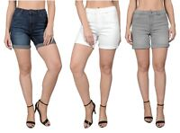 Womens Ladies Ex Branded High Waisted Casual Summer Holiday Denim Shorts