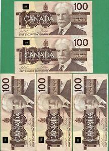 BJ prefix 1988 Canada 100 dollar One Hundred dollars Canadian Thiessen  Crow