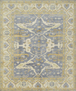 Oushak Rug, 8'x10', Blue/Ivory, Hand-Knotted Wool Pile