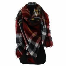 Lot of 2 Women Plaids &Check Blanket Oversized Tartan Scarf Wrap Shawl Pashmina