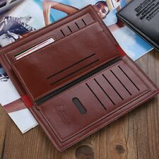 male designer wallets 9ywn  Men Business Long Leather Wallet Bifold Clutch Purse Credit Card Holder Bag  US