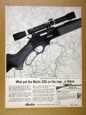1963 Marlin 336 rifle Map of Maine vintage print Ad