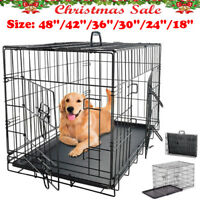 """Extra Large Dog Crate Kennel Folding Pet Cage Metal 2 Doors 48""""/42""""/36""""/30""""/24"""""""