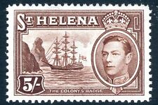 ST HELENA-1938-44 5/- Chocolate Sg 139 LIGHTLY MOUNTED MINT V17412