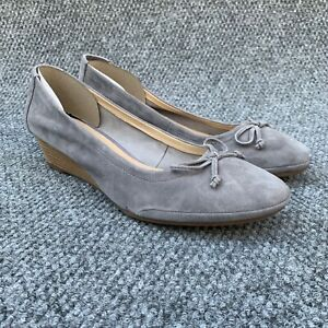 Hush Puppies Womens 12 Kacie Martina Shoes Gray Espadrille Wedge Suede
