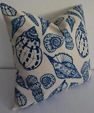 Hamptons Blue Shells Coastal Nautical Beach Linen Blend Cushion Cover 45cm
