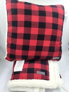Eddie Bauer Cabin Plaid Sherpa Flannel Throw Blanket + Pillow / Red & Black