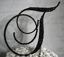"Handmade Black Crystals 5"" Wooden Wedding Cake Topper Letter ""T"""