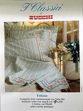 Diseño clásico italiano de lujo floral 100% Cuna Cama Doble. conjunto De Lino Verde Brillante