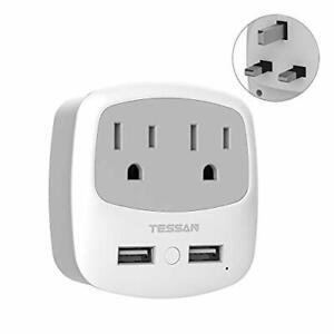 UK Ireland Scotland Power Adapter Plug  TESSAN Type G Travel Adaptor with 2 USB