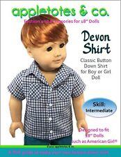 "American Girl Doll Sewing Pattern - Devon Button-Down Shirt for 18"" Dolls"