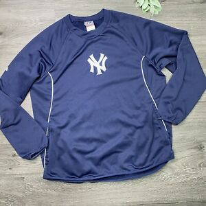 New York Yankees Majestic Therma Base Fleece Pullover Sweater Mens Large Blue