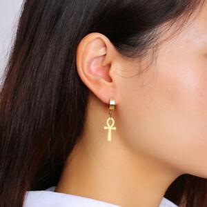 Vintage Egyptian Anhk Cross Dangle Clip On Women's Earrings Ear Studs Drops Gift