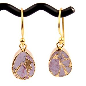 Pear Shape Compressed Gemstone Jade Copper Turquoise Gold Plated Hook Earrings