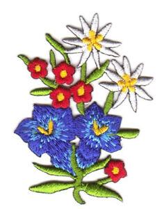 Edelweiss Enzian Trachten Applikation Wiesn 5 x 7cm