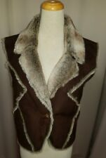 """Faded Glory suede like faux fur lined vest 46"""" chest"""
