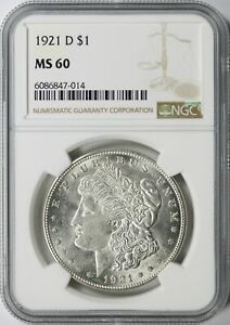1921-D Morgan Silver Dollar $1 NGC MS60
