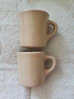 Vintage Set of 2 TEPCO Restaurant Ware Coffee Cups Mugs 2 tan