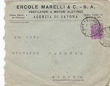 BUSTA INTESTATA ERCOLE MARELLI VENTILATORI E MOTORI SAVONA 1929 13-177