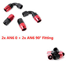 AN6 0°+90° Degree Hose End Fittings Adaptor for Oil Fuel Air Gas Line 6-AN Ends