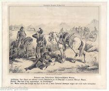 Schweiz-Militaria-Karikatur-Militär - Lithographie 1850