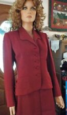 Vintage 1940\u2019s burgundy two piece suit and belt U.K size 68 by fashion house Trebeca