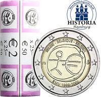 25 x Belgien 2 Euro 2009 bfr. Wirtschafts & Währungsunion WWU/ EMU in Rolle
