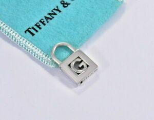 Tiffany & Co Sterling Silver Letter G Lock Charm Pendant For Necklace & Bracelet