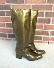 vtg Metallic Green leather Bally Boots 6.5 tall patent leather knee high Italy