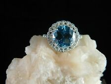 3.46 ct. Round Blue Moissanite Ring Lacy Filagree Sterling Silver
