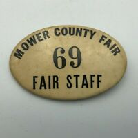 "Vintage ""69"" Mower Minnesota County Fair Staff Badge Pin Pinback Button Rare P6"