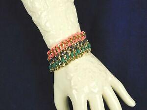Victorias Secret Gold Tone Pink Black Green Curb Link Thread Woven Bracelet