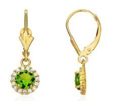 1.25CTW Round Halo Peridot Drop Dangle Leverback Earrings 14K Yellow Gold