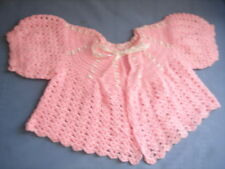 Baby Girl Knitted Shawl Pink Vintage Jacket short sleeve toddler