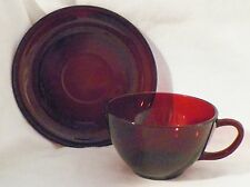 Royal Ruby Anchor Hocking Coffee/Punch Cups & Saucers (3)