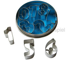 9 Ausstechformen Zahlen Ziffern 0,1,2 - 9 Ausstechform Ausstecher in Dose 531662