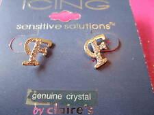 "Crystal Initial ""F"" Earrings 1/2 Inch"