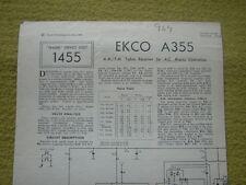 Trader hoja de servicio No.1455 Ekco A355 AM/FM receptor de Mesa para conducciones de CA 1960