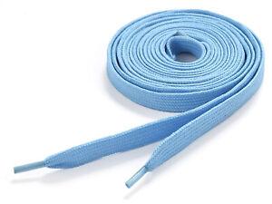 Flat Coloured Shoelaces Fat Skate Shoe Laces Trainers Colour Baby Blue