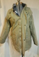 Totes Women's Jacket Coat PVC Flannel Medium M Hooded Tan Zips